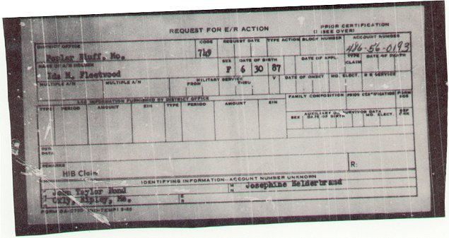Ida May Bond Fleetwood's SS OAC-790 Claim Form